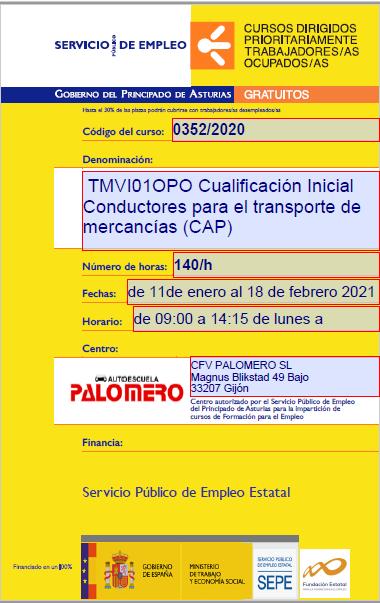 TMVI01OPO CUALIFICACION INICIAL CONDUCTORES PARA EL TRANSPORTE DE MERCANCIAS (CA